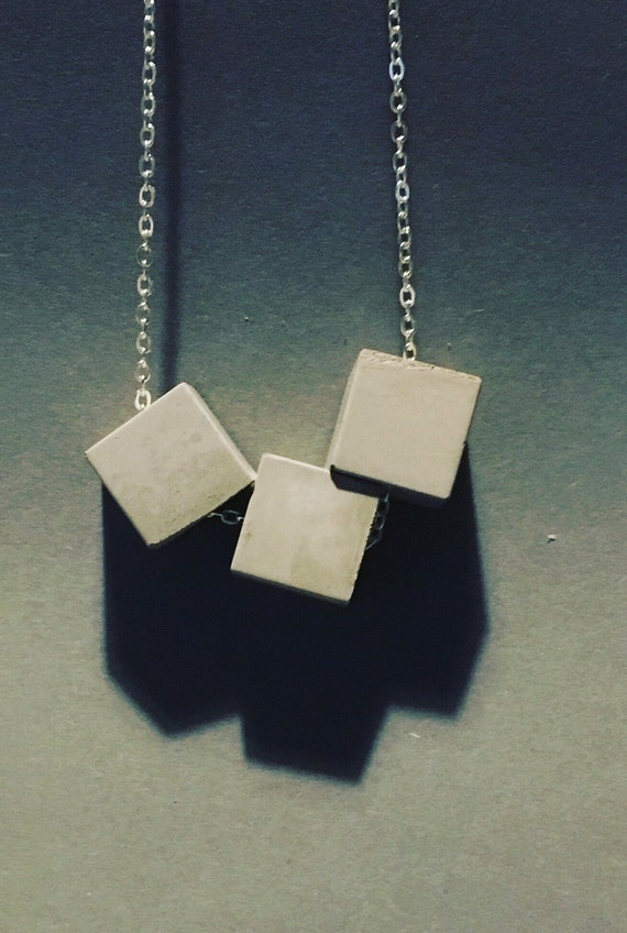 Triple Concrete Cube Necklace Long