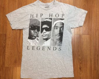 Hip hop legends t shirt mens medium tupac eazy e biggie smalls 90s rap music