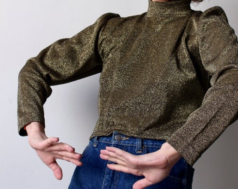 Female soldier / Vintage sweater / Crop Top Lurex gold / Col amount / 70's / Gold / Made In Italy
