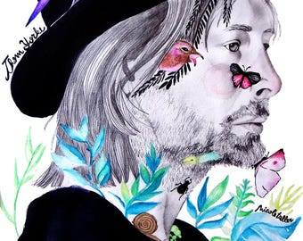 Illustration: Thom embraced by nature Print