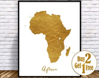 Africa Map, Africa Print, Africa Continent, Map of Africa, Map Wall Art Print, Office Prints, Housewarming Gift, Gold Decor, GoldArtPrint