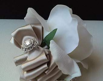 Champagne Wrist Corsage-Real Touch Rose Corsage-Mother of the Bride Corsage-Prom Corsage-Homecoming Corsage