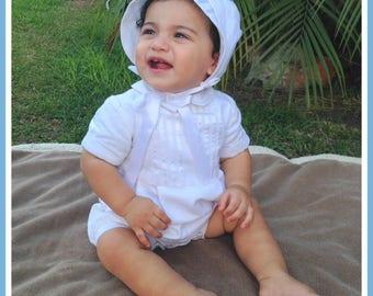 Baptism Outfit Boy, Baptism Romper, Boys Christening Romper, Christening Bonnet
