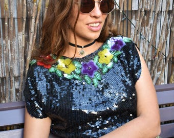 Vintage sequin 80s flower top