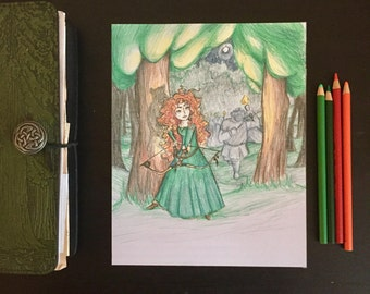 The Bow and the Bear | Princess Illustration | 8x10 | Colored Pencil and Ink Print