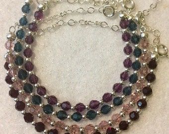 Adjustable Silver Bracelets made with Swarovski Crystals (sold individually)