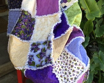 Scrappy purple and green quilt