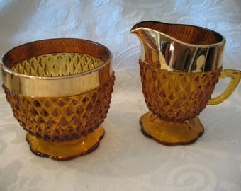 Sugar Bowl Creamer amber tip diamond edged in a wide band Gold Indiana