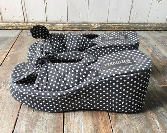 FLASH SALE Vintage 90s Demonia Black + White Polka Dot Bow Tie Fabric Covered Slip On Platform Wedge High Heeled Summer Sandals 11