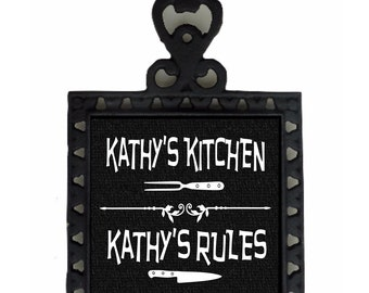 Personalized Kitchen sign, Rustic Iron Trivet, Kitchen wall decor, custom gifts