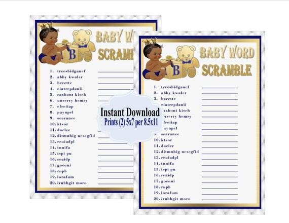 printable royal blue baby word scramble game royal baby shower game baby shower word scramble baby