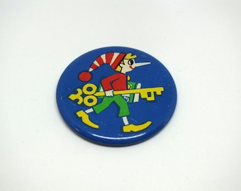 Soviet Buratino pin badge -  Vintage Pinocchio pinback button - Soviet collectible metal badge - Vintage fairy tale pin badge - Made in USSR