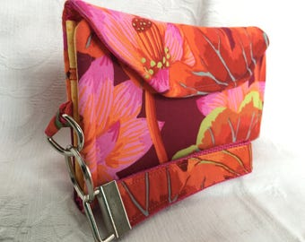 Pink floral trifold wallet with wrist strap (Maine Made)