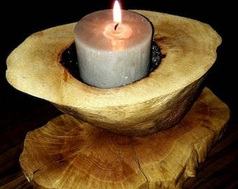 2in1,candleholder and servingboard,oakwood servingplate,wooden candle holder