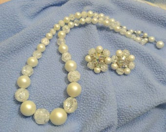 Vintage Faux Pearl and Lucite Necklace with Bead Cluster Eartings