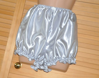 "Lovely silver grey slithery satin bloomers, 42"", Sissy Lingerie"