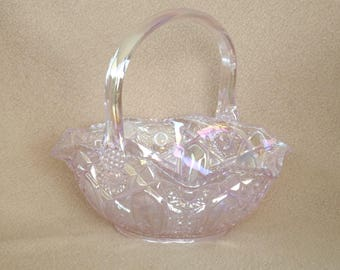 Smith Glass Company Carnival Glass Dish; Vintage Serving Dish; Vintage Glass Basket