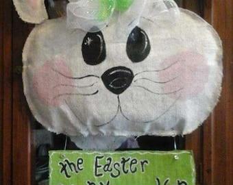 The Easter Bunny Stops Here Burlap Door Hanger