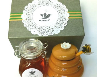 Honey and Honey Pot with Dipper Set-Honey Tea Sweetener Set