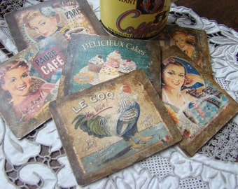 Vintage Découpage Coasters. 50's Style French Advert Coasters.  50's Housewife Coffee Coasters. IV