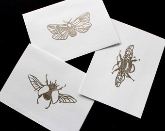 Blank Stationery Set : Metallic Gold Insect Trio