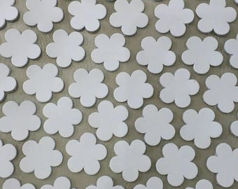 Leather Flowers, White, 4 Sizes 16mm. 20mm. 25mm. 30mm., Leather Flowers Die Cut, Flowers Decoration, DIY Projects.