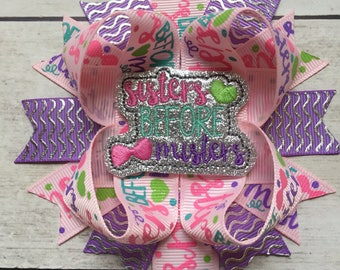 Sisters Before Misters Hair Bow, Girls Hair Bow, Bows for Girls, Baby Hair Bow, Ott Hair Bow, Spring Hair Bows,
