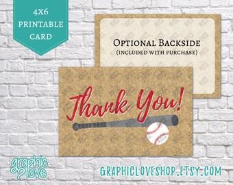Printable Baseball 4x6 Thank You Cards | Digital JPG Files, Instant Download