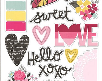Simple Stories Love & Adore Chipboard Stickers | Perfect for your journals and planners!