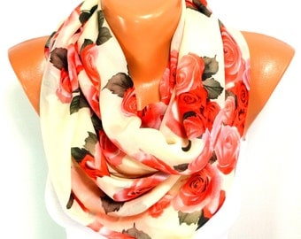 FREE SHIPPING, Rose Printed Scarf, Shawl, Flowered Scarf, Chiffon Scarf, Lightweight Summer Scarf, Gifts for Mothers Day, for Christmas Gift