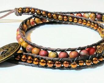 Handmade one of a kind earth tones beaded 2 wrap bracelet with charms