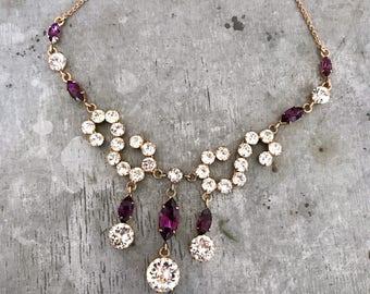 Vintage purple rhinestone necklace, vintage diamante necklace, vintage wedding, rhinestone necklace, purple necklace, amethyst, purple