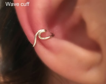 Earrings, Wave Cartilage Earrings, Twisted Ear cuff,Boho Jewelry,Fake Conch piercing,Wave Conch piercing,