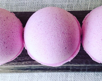 Strawberries & Cream Bath Bomb, Pink Bath Bomb, Fruity Bath Bomb, Bath Fizzie, Fair Trade Organic Cocoa and Shea Butter, Sweet Cream