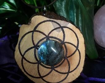 Labradorite Seed Of Life Wood Pendant