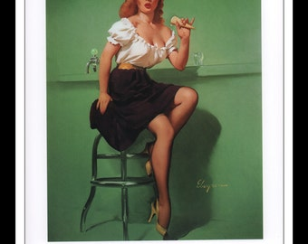 "Gil Elvgren Vintage Pinup Illustration ""Cold Front 1960"" Sexy Pinup Mature Wall Art Deco Book Print 9 3/4"" x 14"""