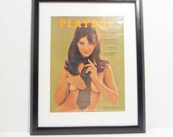 Vintage Playboy Magazine Cover Matted Framed : April 1969 - Sharon Kristie