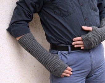 Mens' grey armwarmers for winter,  charcoal grey mittens, mens office gloves, knit fingerless mitts, customized gifts for him