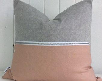 Blushed Pink // Blush // Cushion Cover // Decorative Pillow // Throw Pillow // Grey // Linen // Zipper // Two Tone // Modern // Raw // Trend
