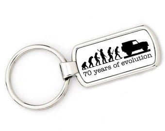 70th BIRTHDAY - DEFENDER Mans Evolution Keyring Ape to Land Rover Defender metal key ring gift present