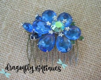 Hair Comb Upcycled Vintage Brooch Blue Stones Eco Friendly Wedding Bridesmaid Eco Friendly Gift for Her Recycled Repurposed ooak  /13