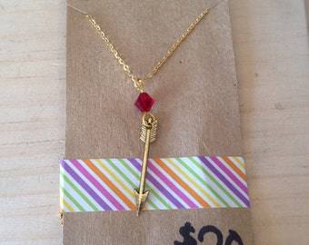 LAST CHANCE CLEARANCE Gold colored arrow and birthstone necklace.