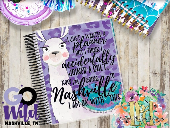 Official Go Wild Merchandise Llama Laminated 10 mil Planner Cover for Erin Condren, Recollection, Plum Paper, LimeLife, & others