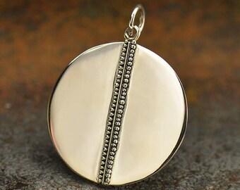 Sterling Silver, Geometric Pendant, Circle Pendant, Geometric Jewelry, Boho Jewelry, Granulation Circle, Organic Jewelry, Circle Jewelry