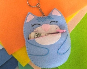 Felt Keychain Coin Pouch, Keyring Purse, Cat Coin Purse,  Blue Cat Zipper Pouch, Change Purse, Kid Coin Purse, Handmade Purse, Gift for kid