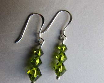 Green Swarovski crystal earrings with Sterling Silver Earwires, Olive green earrings, Crystal earrings