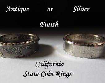 "California State Quarter Handmade ""Coin Ring "" **FREE SHIPPING**"