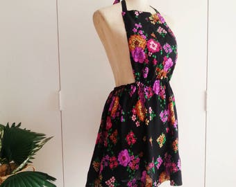 Upcycled Dress, Pinafore Dress, Apron Dress. Wearable Art Dress, Black Floral 70s Vintage Material, Boho Gypsy Dress, XS/S/M