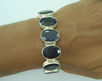 vintage sterling silver bracelet cuff blue sapphire colour gemstone bracelet