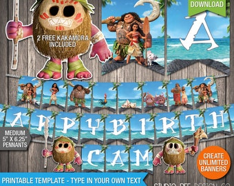 Moana Birthday Banner - INSTANT DOWNLOAD - Printable Disney Moana Happy Birthday Banner With  Kakamora - DIY Personalize & Print (MOmb02)